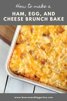 Ham, egg and cheese brunch bake is perfect for serving a hungry crowd on the weekend. Ham And Hashbrown Casserole, Easy Egg Casserole, Hashbrown Breakfast Casserole, Easy Casserole Recipes, Egg Bake With Hashbrowns, Easy Egg Recipes, Ham Recipes, Easter Recipes, Yummy Recipes