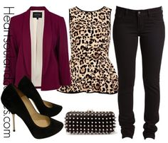 A fashion look from November 2012 featuring leopard print shirt, blazer jacket and jeans. Browse and shop related looks. Fall Outfits, Cute Outfits, Amazing Outfits, Blazer Outfits, Jean Outfits, Work Outfits, Look Fashion, Womens Fashion, Fall Fashion