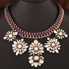 Vivid Resin Flowers Pendant Rope and Alloy Weaving Chunky Chain Necklace
