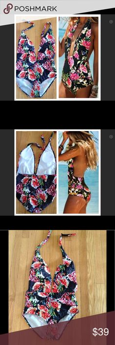 """🌺Sexy Floral Halter Swimwear🌺NWOT 🌺Deep V Halter Swimwear🌺Removable Small Pads*You can add your own🌺Size MEDIUM *14-15"""" measured laid flat & w/ stretch at elastic waist🌺Approx 15"""" measured at Hips🌺Size LARGE*14-15"""" measured laid flat & w/ stretch at elastic waist🌺Approx 16"""" measured at Hips Swim One Pieces"""