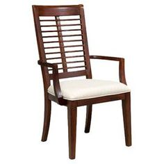 """Set of two eco-friendly mahogany ladder-back arm chairs with upholstered seats and tapered front legs.  Product: Set of 2 chairsConstruction Material: Mahogany and fabricColor: BrownFeatures: Eco-friendlyDimensions: 40"""" H x 18"""" W x 14.9"""" D each"""