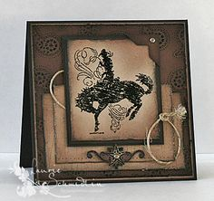 """By Laurie Schmidlin. Uses stamp from Stampin' Up """"Bronc Buster"""" set. Details on her website."""