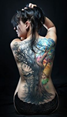 Colored Tree Back Tattoo
