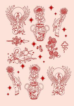 Tattoos And Body Art tatoo flash Flash Art Tattoos, Red Ink Tattoos, Body Art Tattoos, Tattoo Drawings, Tattoo Sketches, Arrow Tattoos, Ship Tattoos, Tatoos, Tattoo Flash Sheet