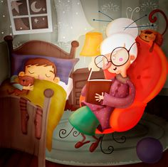 children illustration, nursery room wall deco, art print, original art, digital - Granny reading a good night story. €18,00, via Etsy.