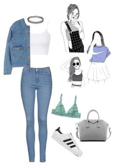 """""""Day Look 133 Tumblr Pastel Grunge 90's Jeans Outfit"""" by fashion-by-katrine ❤ liked on Polyvore featuring Topshop, Monki, Givenchy, adidas, women's clothing, women, female, woman, misses and juniors"""