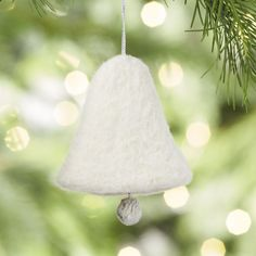 Made of soft needle felt, this handcrafted white bell ornament symbolizes the season and makes a lovely addition to the holiday tree. Merry Little Christmas, Felt Christmas, Christmas 2016, Christmas Tree Ornaments, Christmas Crafts, Holiday Tree, Holiday Decor, Needle Felted Ornaments, Ball Ornaments