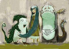 juanbjuan children illustration: monsters sketch