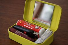 DIY Travel Tin: Everything You Need in One Box >> http://blog.diynetwork.com/maderemade/how-to/mint-tin-upcycle-make-your-own-traveling-tin/?soc=pinterest