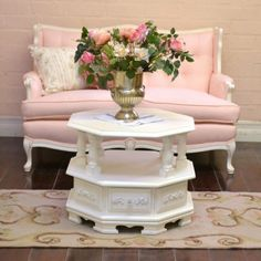 White Octogonal Open Shelf Side Table $425.00 #thebellacottage #shabbychic #OOAK
