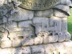 train carving Saint Thomas Catholic Cemetery Zanesville, Ohio