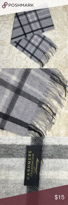 Charter Club 100% Cashmere Scarf Gray, checked scarf with fringes. Length without fringes 63 in; 159 cm Charter Club Accessories Scarves & Wraps