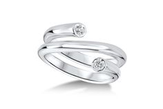 Geometric Triple Coil Diamond Ring - in Sterling Silver - (0.08 CTW)