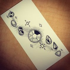 Rough sketches of Steven Universe tattoo flash ideas.