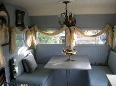 love the window treatment on Ella Elaine's blog-Me...I'm not Crazy about the Window Treatments:-( would prefer a Simple Roll-Up Shade:-) But...Love the Camper!
