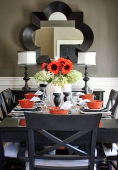Black table and chairs with orangey red pop of color. The Yellow Cape Cod: Low-Cost Thanksgiving Table And Source List Dining Room Design, Dining Room Table, Dining Rooms, Dining Set, Kitchen Dinning, Dining Chairs, Sweet Home, Decoration Table, Decorations
