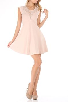 French Connection Dana Dress In Beige - Beyond the Rack