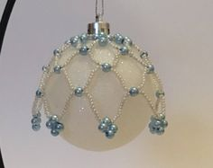 Christmas Tree Decoration / Hand Beaded Pearlescent and Baby Blue Pearl Christmas Ornament Cover