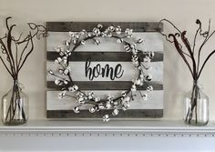 Farmhouse Style Cotton Wreath on Home Wood Sign. Fall Decor.