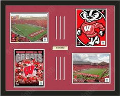 Four framed 8 x 10 inch University of Wisconsin photos of  University of Wisconsin Badgers Team Logowith a customizable nameplate*, double matted in team colors to 28 x 22 inches.  The lines show the bottom mat color. $159.99         @ ArtandMore.com
