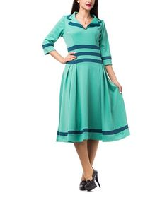 Loving this Mint Wide-Collar Fit & Flare Dress on #zulily! #zulilyfinds