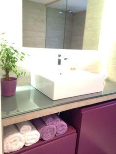 Eggplant bathroom furniture, cement bathroom