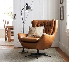 Tufted Chair and Ottoman . Tufted Chair and Ottoman . Wells Tufted Leather Swivel Armchair In 2020
