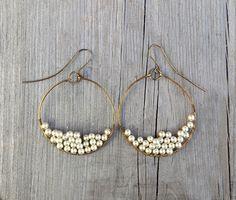 Chandelier Earrings Pearl Earrings Brass by FateAndNecessity, $22.00