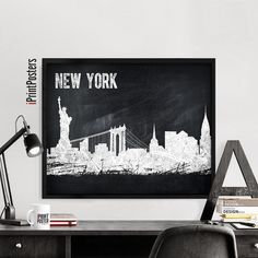 New York poster, Poster, NYC chalkboard print, New York skyline, Travel print, City poster, Art gift,  Wall Art, Home Decor, iPrintPosters    ►Available sizes are shown in the SELECT A SIZE drop down menu above the ADD TO CART button.  ►I don't offer frames only prints    QUALITY AND DETAILS:  ►Paper: Premium Glossy or semigloss Photo Paper in 255 gsm.  ►Ink: Epson archival professional ink for colorful, vibrant prints that are water & fade-resistant  ►Posters last up to 98 years in a frame…