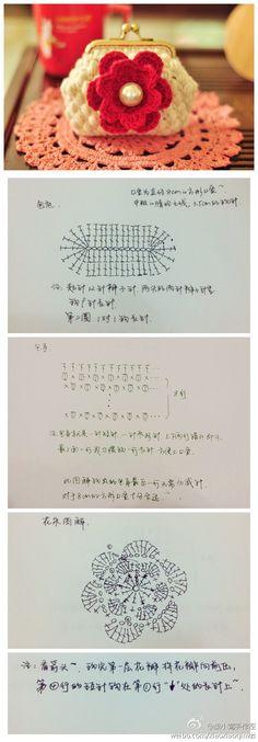 Idea for earrings or coasters? Crochet Coin Purse, Crochet Purse Patterns, Crochet Box, Crochet Pouch, Crochet Diagram, Crochet Purses, Crochet Chart, Crochet Gifts, Crochet Motif