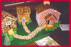 This an image of the three little pigs houses. The houses are made up of straw, sticks, and bricks. This is magic because in the story it talks about how the three little pigs made there houses out of different material.