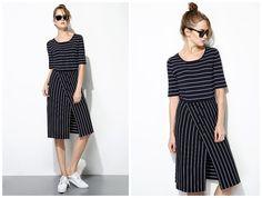 stripe dress,knee length,slit,short sleeve,unique,fashion,preppy style,nautical,comfortable.--E0292