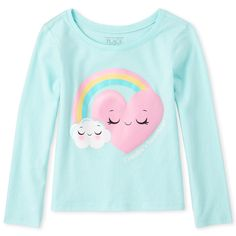 Shop for The Children's Place Baby And Toddler Girls Long Sleeve Glitter 'Grandpa's Sweetheart' Rainbow Graphic Tee. Check out our great selection of kids clothes, baby clothes & more at the PLACE where big fashion meets little prices! Girls Tees, Shirts For Girls, Girl Shirts, Cute Girl Outfits, Kids Outfits, Kids Nightwear, Toddler Girls, Baby Girls, Girl Trends