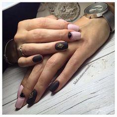 Evening nails by shellac, Fall matte nails, Fashion matte nails, Half-moon nails ideas, Long nails, Matte black nails, Matte nails, Moon nails 2017