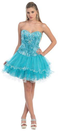 Strapless Cocktail Party Short Prom Shining Sequin Dress #846 (12, Teal) US Fairytailes,http://www.amazon.com/dp/B0088EKH6C/ref=cm_sw_r_pi_dp_LTrXsb198KRA0Y79