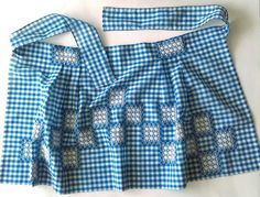 Vintage Half Apron Blue and White Gingham Embroidered Chicken Scratch Cross Stitch Handmade Retro Country Kitchen Cottage Chic Farm Living by FerndaleLaneVintage on Etsy