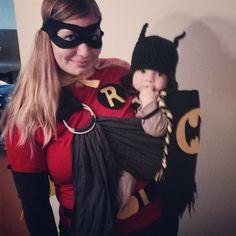 Batman and Robin // via @Natalie Jost Jost Jost Vandenbossche on Instagram #sakurabloom #babywearing