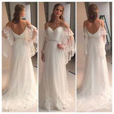 A Line Beach Boho Wedding Dress Spaghetti Straps Cheap Custom Made Bride Gowns