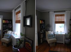 """In the Little Yellow House: white """"Vivan"""" curtains from IKEA against gray walls."""