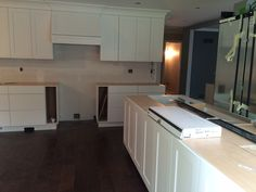 Kitchen Island, Kitchen Cabinets, Open Concept, Powder Room, Home Decor, Island Kitchen, Kitchen Cupboards, Trough Sink, Homemade Home Decor