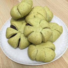 Green tea bread with red bean paste