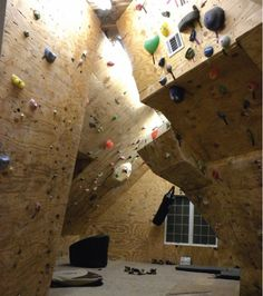 rock climbing walls in the attic - a cool way to use up unusable space