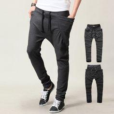 Mens fashion Harem pants  Drop crotch side pocket gym pants. Jogging Hombre 0326e3bfab8d