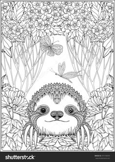 cute sloth in forest coloring page for adults : Shutterstock 475196059