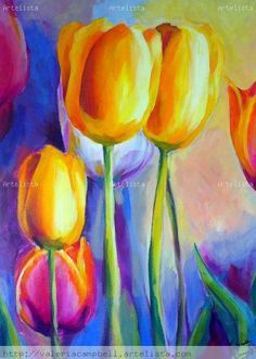 Tulipanes - acrylic painting by Valeria Campbell
