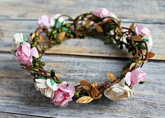 Floral Crown, Fairy Crown, Woodland Fairy Crown, Flower Girl Crown, Photography Prop, Photo Prop, Floral Hair Wreath, Hair Wreath, by TheSugarCreekShoppe on Etsy