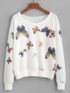 13$  Watch here - http://diz0y.justgood.pw/go.php?t=5515 - White Butterfly Print Drop Shoulder Sweatshirt 13$