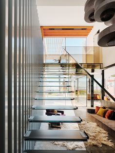 Siller glass staircase and floating glass bridge made with bronze tinted glass Glass Bridge, Glass Stairs, Mid Century House, Colored Glass, Blinds, Photo And Video, Interior Design, Architecture, Bronze