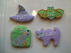 halloween cookies rat, cat, bat and hat for my kids bat day that they are having in kindergarten words that end in at
