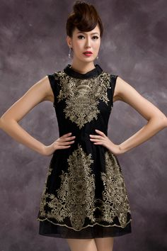 #ROMWE ROMWE | Band Collar Embroidered Flower Black Dress, The Latest Street Fashion
